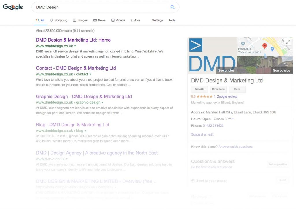 Example Google Business listing in the search results